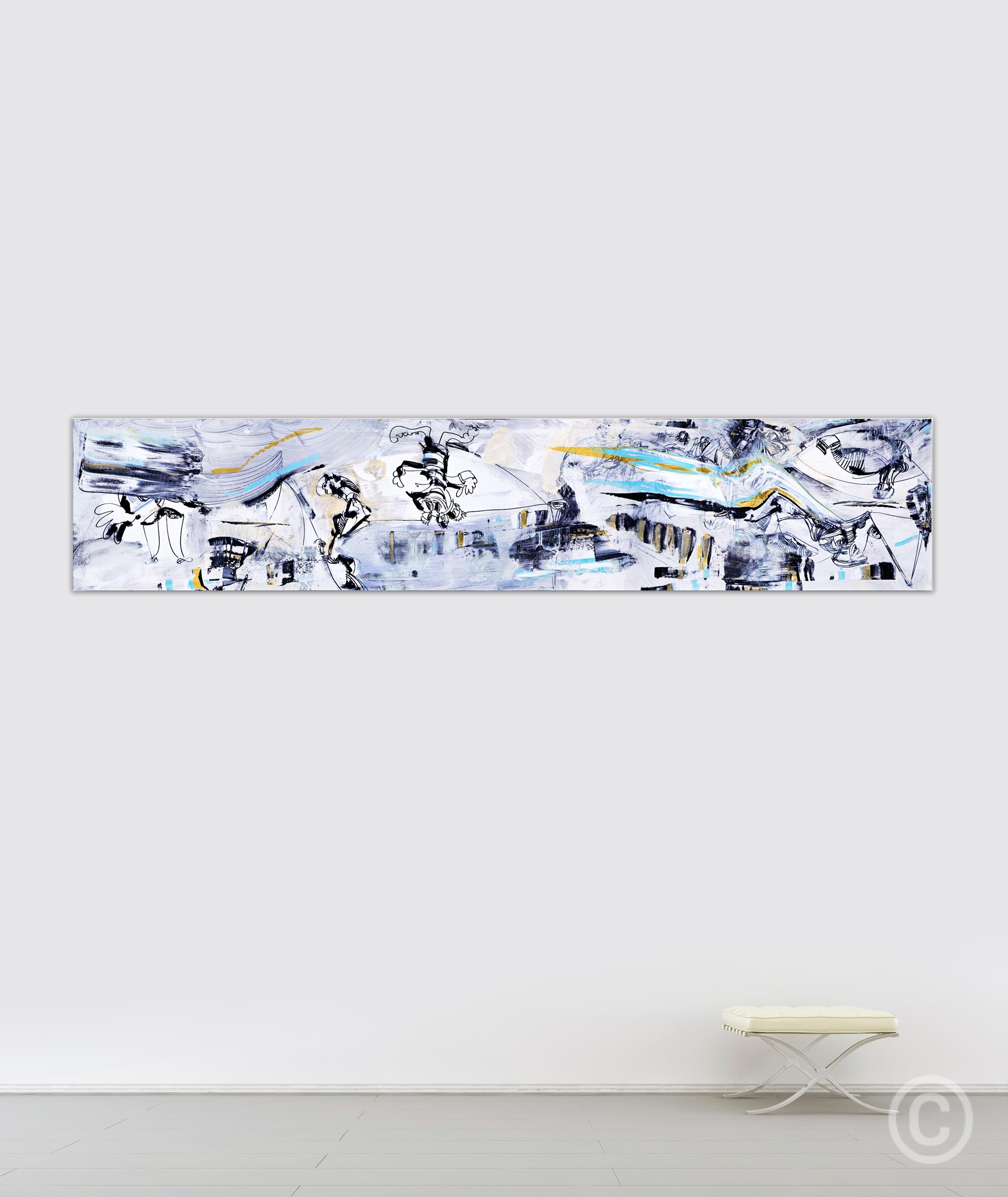 AABA (Bleu) Exhibit - [250 x 51 cm] Acrylic on linen © Prosper Jerominus, 2015